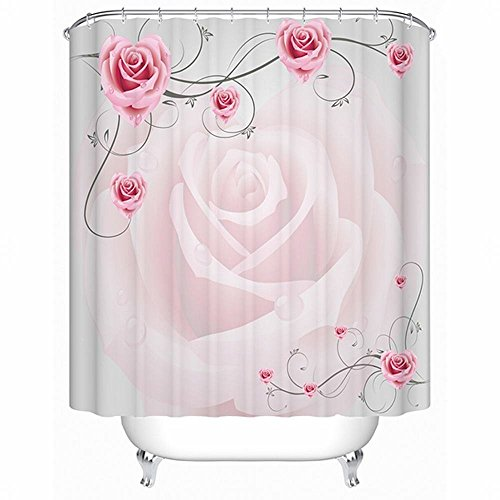 Alicemall pink flower shower curtain 72in x 72in, polyester fabric shower curtain bathroom accessories shower curtain with 12 free hooks