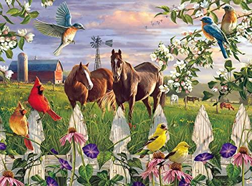 Rompecabezas de 1000 piezas, diseño de caballos y pájaros, ideal para el día de la madre y el día del padre