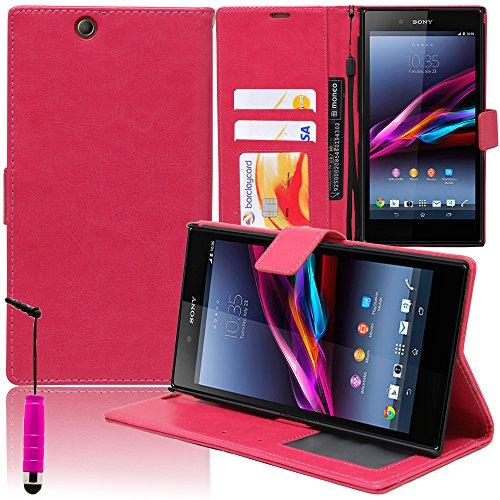 VComp-Shop® Custodia a portafoglio in pelle PU con scomparti per carte di credito e supporto video per Sony Xperia Z Ultra XL39H + mini pennino capacitivo, rosa