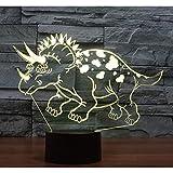 AOXULIU Luz de noche Luz De Noche Led 3D Patrón De Dinosaurio Triceratops Luz De 7 Colores Para La Decoración Del Hogar Lámpara Ilusión Óptica Base Blanca Agrietada