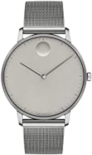 Movado FACE Grey Stainless Steel Case, Mesh Bracelet, Grey Dial, Men, 3640008
