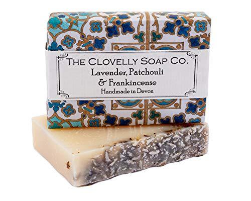 Clovelly Soap Co. Handgemachte Lavendel, Patschuli & Weihrauch Naturseife für alle Hauttypen 100g