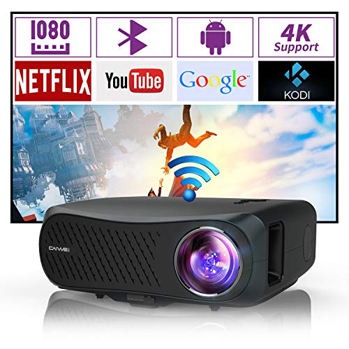 Native 1080P Wireless Projectors with Bluetooth Wifi Support 4K Airplay Full HD 1080 LED LCD Smart Home Theater Gaming Projector 1920x1080 HDMI USB Audio Zoom for Phone TV DVD Laptop PC Outdoor Movie
