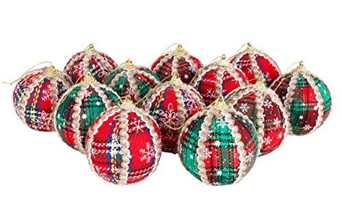 Set of 12 Christmas Baubles - Red Tartan with Cream and Black Decoration
