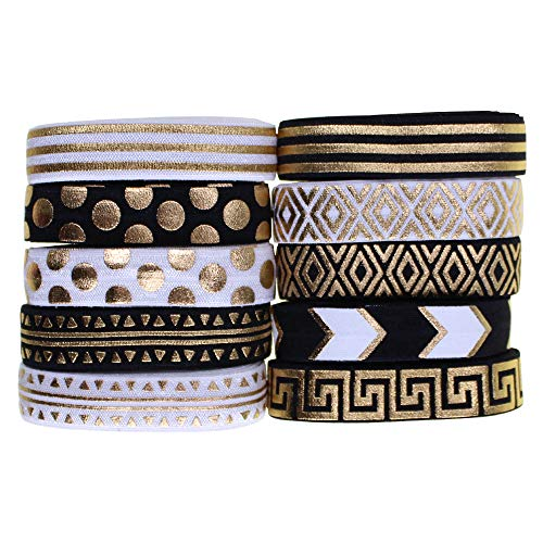 20 Yards Fold Over Elastic Ribbon Elastics 5/8' 15mm Stretch Hair Ties Headbands for Baby Girls Hair Bow, 10 Prints, 2 Yards Each One (Aztec Patterns)
