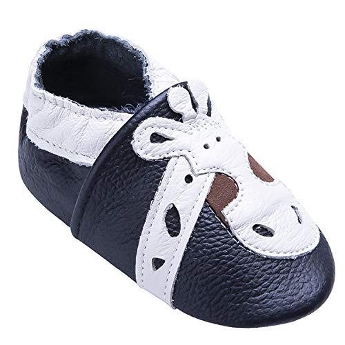 Weiche Leder Babyschuhe mit Mokassins Wildledersohlen für Kleinkinder Kleinkinder Jungen Mädchen Prewalker Schuhe (18-24 Monate, Giraffe)