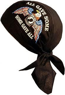 Skull Cap Biker Caps Headwraps Doo Rags - POW/MIA Some Gave All w/Eagle on Black