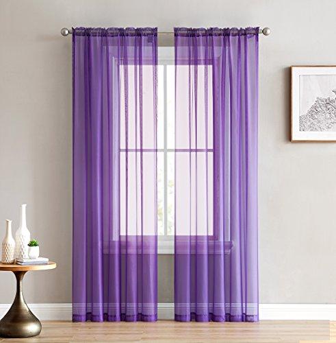 "HLC.ME Purple Sheer Voile Window Treatment Rod Pocket Curtain Panels for Kids Bedroom & Nursery Room (54"" W x 84"" L, Set of 2)"
