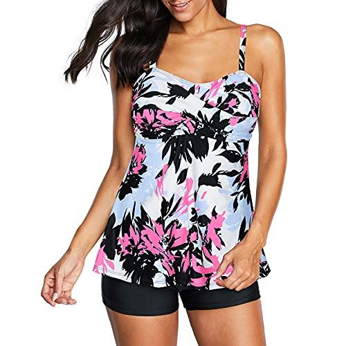 Zando Women's Vintage Two Piece Swimming Suit Printed Teen Swimwear Skirted Bathing Suits Tankini Top Boyshort Swimsuits for Women Pink Printed Swimdress 2X-Large (US 12-14)