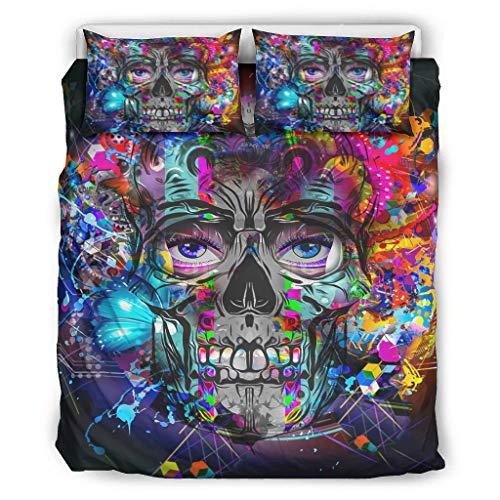 BOBONC Skull Stylish Printed Bed Set Bettbezug Set All Seasons Light Bettwäsche-Set für Jungen Mädchen 100% Polyester White 264x229cm