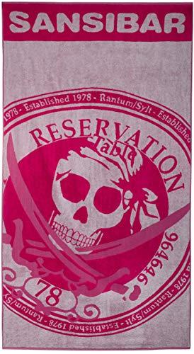 Sansibar Badetuch Reservation Strandtuch Saunatuch Zweifarbig Prägedruck Design 100% Baumwolle ca.100x180 cm Pink