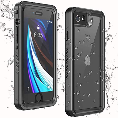 Temdan iPhone SE 2020 Case iPhone 8 Case iPhone 7 Case Waterproof,Clear Sound Quality Built-in Screen Protector Heavy Duty IP68 Waterproof Shockproof case for iPhone SE (2020)/8/7 4.7 inch-Black/Clear