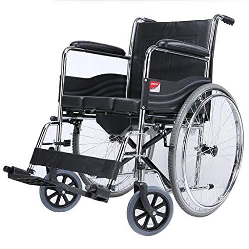 Silla de ruedas Plegable Portátil For IR Al Baño De Acero del Tubo De Tránsito Coches Junta WithTable For Mayores Discapacitados