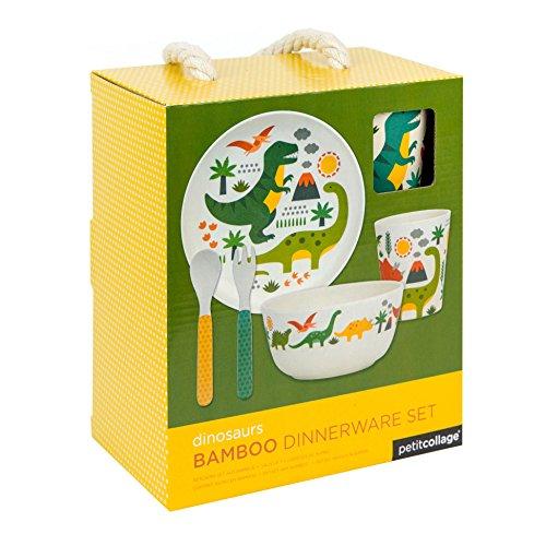 Petit Collage Dinosaur Dinnerware Set | Sustainable Bamboo | BPA, PVC, Formaldehyde and Phthalate-Free | Plastic Free