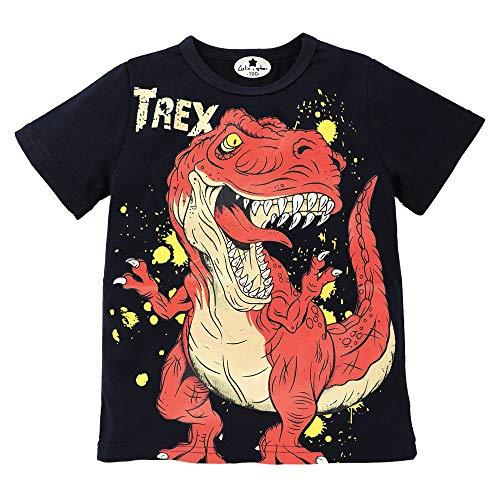 LuckyGirl Nfantile Bébé Enfants Garçons Filles T Shirts Imprimé Dinosaure Tops Casual Mignonne Top Mélange de Coton Tenues pour 18 Mios-6 Ans (Noir, Âge: 6 Ans)