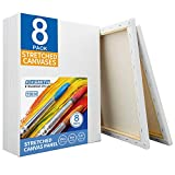 FIXSMITH Stretched White Blank Canvas- 11x14 Inch,Bulk Pack of 8,Primed,100% Cotton,5/8 Inch Profile of Super Value Pack for Acrylics,Oils & Other Painting Media