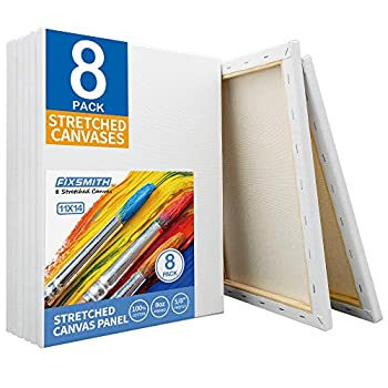 FIXSMITH Stretched White Blank Canvas - 11x14 Inch 8 Pack Primed,100% Cotton,5/8 Inch Profile of Super Value Pack for Acrylics,Oils & Other Painting Media