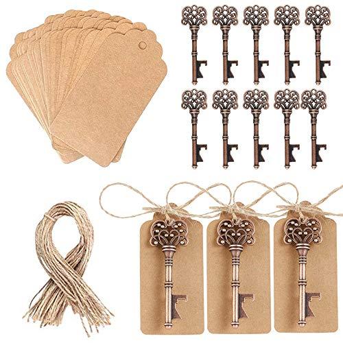 Pulluo 50pcs Gastgeschenke Hochzeit Vintage Schlüssel Flaschenöffner Retro Anhänger Bronze Schlüssel Deko mit Karten für Hochzeit Gäste Party Geburtstag