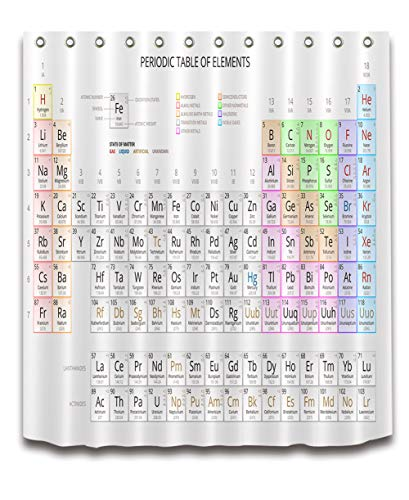 ZZZdz periodiek systeem chemische elementen. Hoofddecoratie. Douchegordijn. 180 x 180 cm. 3D Hd print. Waterdicht. Gemakkelijk te reinigen. 12 vrije haken.