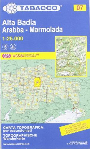 Gadertal, Arabba, Marmolada: Wanderkarte Tabacco 07. 1:25000 (Cartes Topograh)