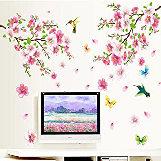 Peach Flower Scenery Of the Spring Wall Sticker For Living Room Bedroom Home Decoration Wallpaper