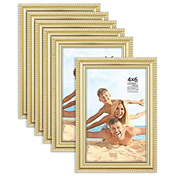 Langdon House 4x6 Picture Frames  Gold 6 Pack  Contemporary Frame Set Wall Mount or Table Top Prosperity Collection