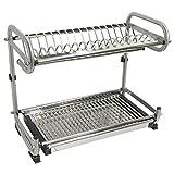 Probrico 304 Cocina de acero inoxidable Plato de secado 2-Tier Ancho 490 mm (19 pulgadas) de pared / piso montado