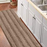 Luxurious Shaggy Chenille Kitchen/Bath Mat Non-Slip Kitchen Rug Taupe Brown Chenille Rug Striped...