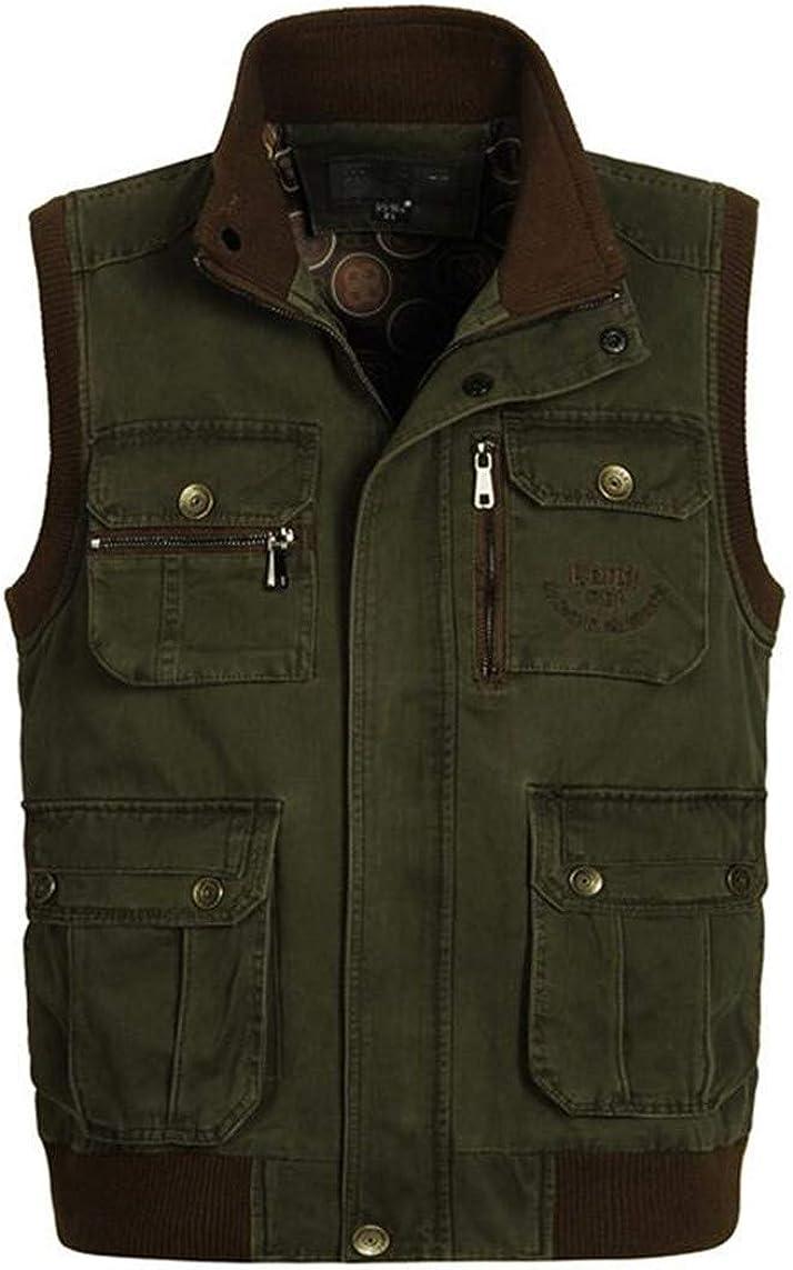 Men's Cargo Cotton Vest Multi Pockets Tactical Waistcoat Photography Sleeveless Collar Jacket