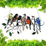 VINNAR Kristall Sonnenfänger Grüner Kolibri Anhänger hängender,7 Vögel buntglas-Fenster-hängedekoration,buntglas Fensterbild,Für Fenster Sun Catcher Hausgarten Dekoration