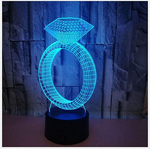 3D Luz De Noche Led lámpara de ilusión óptica para Jewelry diamond ring spot lámpara de escritorio creativa para cumpleaños Con carga USB, control táctil de cambio de color colorido