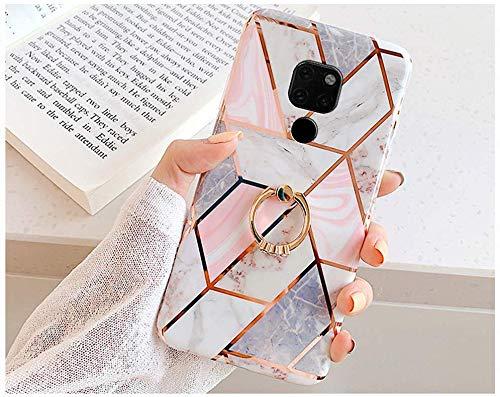 Herbests Kompatibel mit Huawei Mate 20 Hülle Handyhülle Marmor Muster Glänzend Glitzer Bling Weich Silikon Hülle Kratzfest Schutzhülle Tasche Crystal Hülle Ring Halter Ständer,Rosa