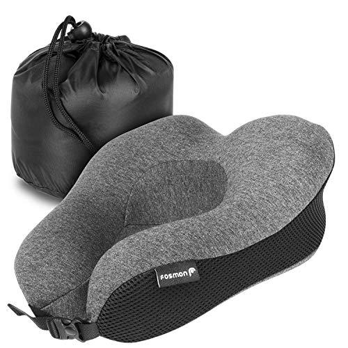 Viaje Cuello Almohada, Fosmon Soft y cómodo Memory Foam Neck, Head & Chin Support Travel Pillow, Funda de algodón 100% Lavable a máquina para avión y Coche - Gris Oscuro/Negro