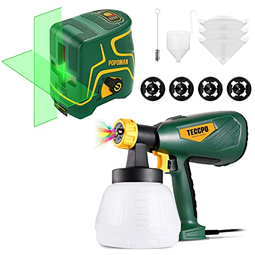 Paint Sprayer, TECCPO Up to 100DIN-s, 4 Nozzles 3 Sizes & 3 Spray Patterns, High Power HVLP Electric Paint Sprayer, 1300ml Detachable Container + Laser Level, 147ft, Self Leveling, Green Cross line