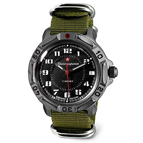 VOSTOK | Men's Komandirskie Red Star Russian Army Commander Military Mechanical Watch | Model 816186 Green Strap