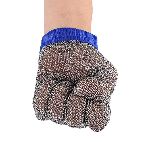 Kettenhandschuh zum Schutz vor Schnittverletzungen, 1Stück, Arbeitshandschuh mit Drahtgeflecht, Hohe Schutzleistung, 5. Schutzstufe, aus Edelstahl 304L(breit)