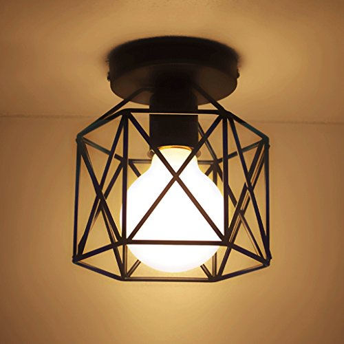 Hines Retro Vintage Plafón haenge lámpara 15 cm ancho Cocina Pasillo de lámpara E27 Negro Lámpara de pantalla de la Industria Proyección Deck Techo Cabeza única haengelampe Lámpara colgante