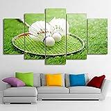 ZHOUKEYU HD gedruckt 5 Stück Leinwand Kunst Badminton