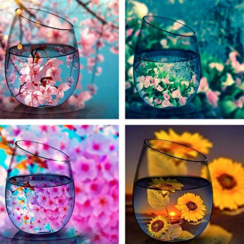 Yomiie 5D Diamond Painting Cup Landscape & Bottle Flower Scenery Full Drill by Number Kits, DIY Craft Paint with Diamonds Arts Embroidery Cross Stitch Decorations (12x12 inch, 4 Pack) a176