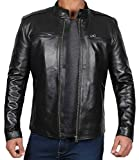 Black Leather Jacket Men - Genuine Lambskin Vintage Jacket | [1100444] Clinton, L