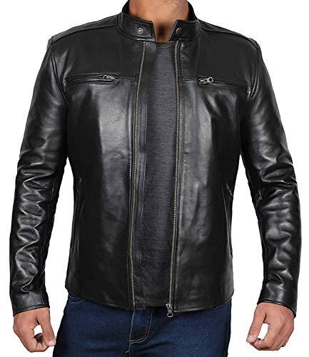 Mens Leather Jacket Black - Café Racer Moto Jacket | [1100441] Clinton, XS