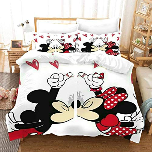 QWAS Mickey Minnie-Funda nórdica de Mickey Mouse,funda nórdica de microfibra,ropa de cama infantil(A1-135X200cm+50x75cmx2)