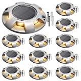 Driveway Markers Solar Dock Lights Warm White JACKYLED 12-Pack Aluminum Solar Powered Boat Deck Lights Outdoor Waterproof LED Wireless Warning Step Lights for Step Sidewalk Stair Garden Pathway