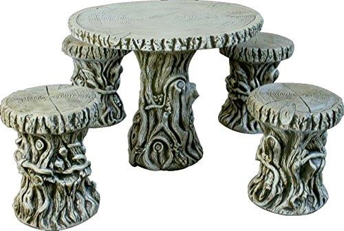 DEGARDEN Mesa Arbol 85cm. y 4 taburetes para jardín o Exterior de hormigón-Piedra