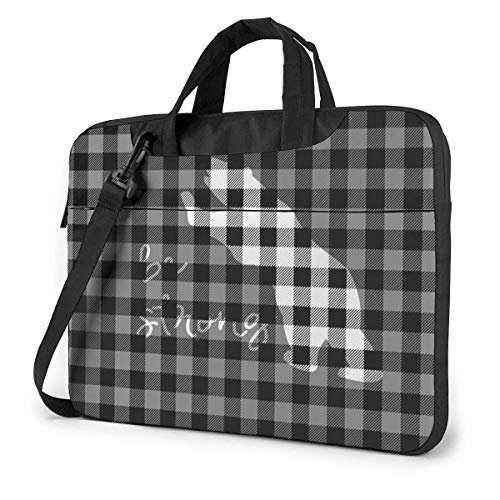 Buffalo Plaid Bear Black Gray Laptop Bag Shoulder Messenger Bag Computer Tote Briefcase for Work School