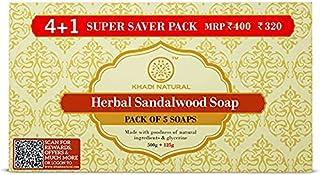Khadi Herbal Ayurvedic Sandalwood Soap Super Saver Pack 4+1, 125 g (Pack of 5)