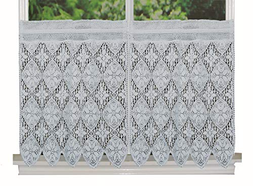 """Creative Linens Knitted Crochet Lace Kitchen Curtain 30"""" L Tiers White, 100% Cotton"""