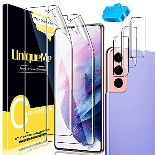 [2 Pack] Protector de Pantalla Compatible con Samsung Galaxy S21 Plus + [3 Pack] Protector de Lente de Cámara Compatible conSamsung Galaxy S21 Plus, [Sin Burbujas] TPU Film [Flexible]