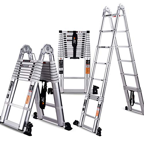 Jian E- telescoopladder - trapezium- / uittrekbare ladder, draagbare aluminiumlegering, multifunctioneel klapframe, trapezium, Home Loft, bureaukruk - draagkracht 150 kg - maat 5 / -