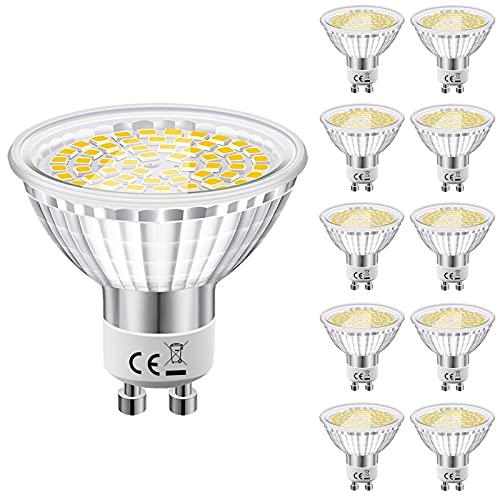 Eofiti Bombillas LED GU10 6000K Cristal, 6w 540LM GU10 LED Blanco Frio Equivalente a 50W Lámparas Halógenas, AC 230V Luz Fria GU 10 Ojo de Buey Ángulo de Haz de 120°, Ra83 No Regulable Paquete de 10